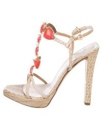 Dior - Embossed Leather Sandals Beige - Lyst