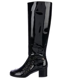 eef61b9ed8d Lyst - Chanel Leather Knee-high Boots Brown in Metallic