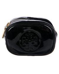 Tory Burch - Logo Monogram Patent Leather Zip Pouch Black - Lyst