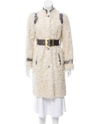 Emilio Pucci - Leather-trimmed Lamb Fur Coat Metallic - Lyst