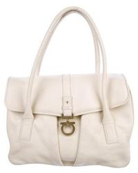 Ferragamo - Gancio-accented Leather Tote Gold - Lyst