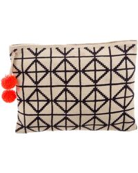 Sophie Anderson - Lia Pom-pom Embellished Woven Clutch Navy - Lyst