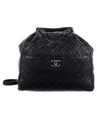 55c9d00d15fa Chanel - 2016 Quilted Lambskin Large Drawstring Bag Silver - Lyst