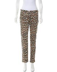 Kate Spade - Leopard Print Mid-rise Jeans Tan - Lyst