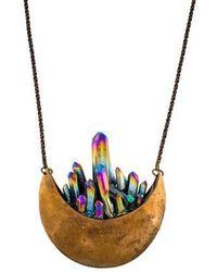 Pamela Love - Crystal Crescent Necklace Brass - Lyst
