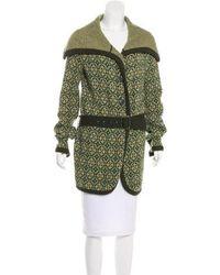 Etro - Knit Short Coat Green - Lyst