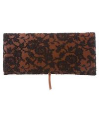Rochas - Lace & Leather Clutch Cognac - Lyst