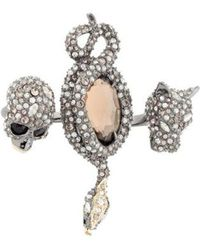 Alexis Bittar - Crystal Skull, Snake & Panther Two-finger Ring Brass - Lyst