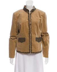 MICHAEL Michael Kors - Michael Kors Embellished Collarless Jacket Beige - Lyst