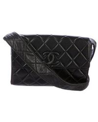 1d02fbf1ea93 Lyst - Chanel Vintage Lambskin Flap Bag Black in Metallic