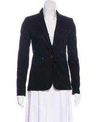 Elizabeth and James - Leather-trimmed Woven Blazer - Lyst