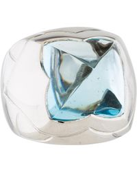 BVLGARI  18k Blue Topaz Pyramid Ring White  Lyst
