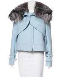 Wes Gordon - Fox Fur-trimmed Wool Jacket - Lyst