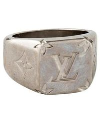 Louis Vuitton - Monogram Signet Ring Silver - Lyst