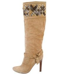 Roberto Cavalli - Suede Knee-high Boots Tan - Lyst