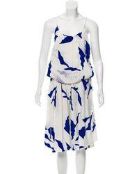 70390320270 Lyst - Diane Von Furstenberg Soleil Silk Romper Navy in Blue