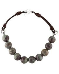 Brunello Cucinelli - Agate & Leather Bead Strand Necklace W/ Tags Silver - Lyst
