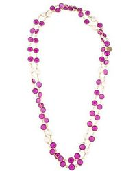 Chanel - Crystal & Pearl Sautoir Necklace Gold - Lyst