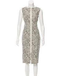 SUNO - Floral Sheath Dress Olive - Lyst