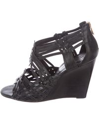 71bfe6d9ab89 Lyst - Tory Burch Savannah Wedge Sandals in Metallic