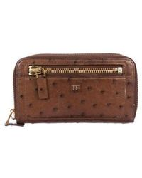 Tom Ford - Ostrich Continental Wallet Gold - Lyst