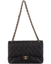 Chanel - Caviar Classic Jumbo Double Flap Bag Black - Lyst
