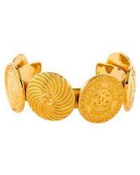 Chanel - Cc Medallion Cuff Gold - Lyst