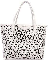 4ac34bd6e6 Givenchy - Antigona Medium Leather Shopper Tote Silver - Lyst