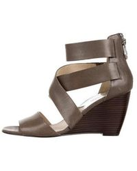 6ea4f1485a6 MICHAEL Michael Kors - Michael Kors Leather Wedge Sandals Olive - Lyst
