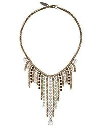 Fallon - Crystal Fringe Collar Necklace Gold - Lyst