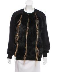 Vera Wang - Fur-trimmed Pullover Sweatshirt - Lyst