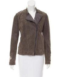 Brunello Cucinelli - Monili-trimmed Suede Jacket W/ Tags Grey - Lyst