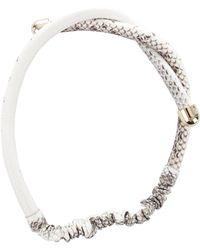 Colette Malouf - Embossed Leather Twist Headband Beige - Lyst