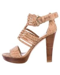 c72698cddbc Lyst - Jimmy Choo Neston Mixed Media Cork Platform Wedge Sandals in ...