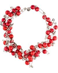 Tom Binns - Safety Pin & Bead Strand Necklace Silver - Lyst