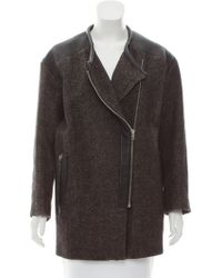 IRO - Leather-trimmed Linen-blend Coat - Lyst