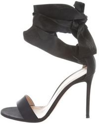 Gianvito Rossi - Satin Wrap-around Sandals - Lyst