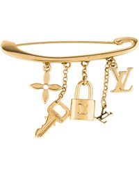 Louis Vuitton - Charm Pin Brooch Gold - Lyst