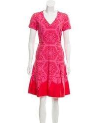 Jonathan Saunders - Silk-blend Knee-length Dress Pink - Lyst