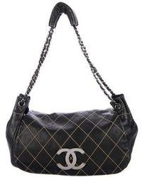 Chanel - Diamond Stitch Accordion Flap Bag Black - Lyst