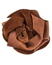 Brunello Cucinelli - Leather Flower Brooch Brass - Lyst