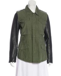 American Retro - Leather-trimmed Short Coat - Lyst