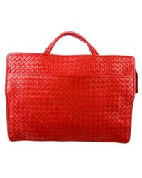 Bottega Veneta - Leather Intrecciato Briefcase Red - Lyst
