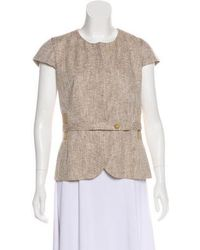 Ports 1961 - Collarless Short Sleeve Jacket Tan - Lyst