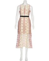 a56846f78fee2 Lyst - Self-Portrait Eyelet Accented Midi Dress W/ Tags in White