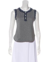 86b8cb79c4d Chanel - Tweed-trimmed Sleeveless Top Grey - Lyst