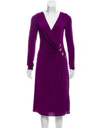 Roberto Cavalli - Midi Wrap Dress Violet - Lyst