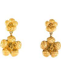Chanel - Matelassé Camellia Drop Earrings Gold - Lyst