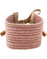Brunello Cucinelli - Beaded Fabric Bracelet Rose - Lyst