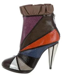 Rodarte - Embossed Leather Ankle Boots W/ Tags - Lyst